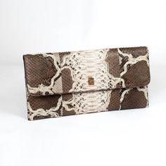 Vera pochette in genuine embroided python by Gleni
