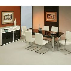 This contemporary dining set is a practical, yet fashion-forward way to incorporate a modern look into your dining room!
