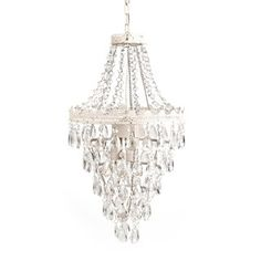 Add vintage-inspired glamour to any nursery or bedroom with this Tadpoles pendant lamp chandelier, featuring sparkling, faux-crystal teardrops and hanging beads. In white. Chandelier Bedroom, White Chandelier, Beaded Chandelier, Chandelier Lighting, Chandeliers, Nautical Home Decorating, Decorating Ideas, Decor Ideas, Craft Ideas