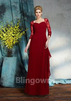 f44c313c5c1 Sheath Column Sweetheart Sleeves Lace Chiffon Floor-Length Mother Of The Bride  Dresses