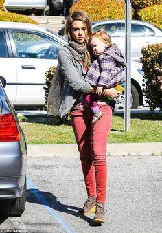 Cradling her cutie: Jessica Alba kept daughter Haven close as she took her girls to gymnastics class