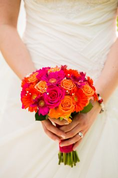 Pink and orange colour scheme Gerbera and Rose bouquet
