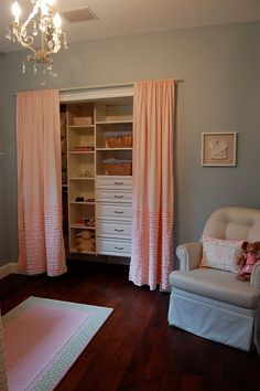 Remove closet doors, put up curtains, build new shelves and drawers inside. Easier access and quieter Remove closet doors in girls' bedroom and put up curtains. The bifold doors just take up room. My New Room, My Room, Spare Room, Closet Curtains, Ruffled Curtains, Hang Curtains, Bedroom Curtains, Peach Curtains, Hanging Drapes