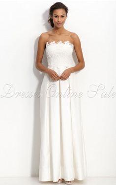 White Sheath Floor-length Strapless Dress