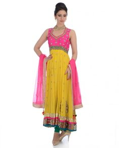 Exclusively.In  Chrome Lemon Anarkali Suit with Crystal Stones