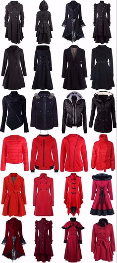 Most likely wouldn't wear the stuff in red but everything is nice- Edgy Outfits, Cool Outfits, Winter Leather Jackets, Cosplay, Character Outfits, Coats For Women, Mantel, Ideias Fashion, Pin Up