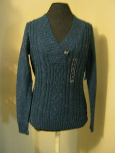 St. John's Bay blue speckled sweater sm pull over comfort clothing casual #StJohnsBay #pullover