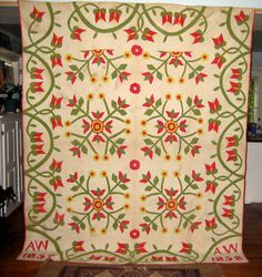 Antique Applique Quilt Maine 1858 | eBay