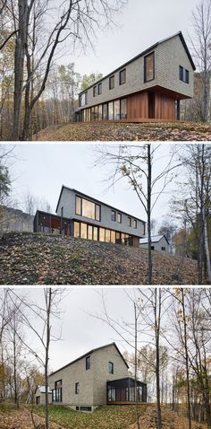 18 Modern Houses In The Forest | Wood shingles and wood paneling help this house fit right in with the forest surrounding it, while large windows provide views of the ever changing landscape.