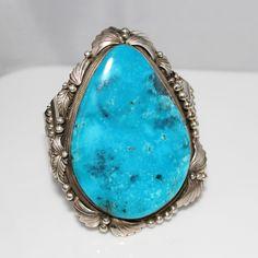 Estate Massive Turquoise & Sterling Native American Henry Sam Cuff Bracelet
