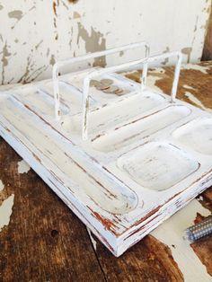 Wood Valet Tray RUSTIC DESKTOP ORGANIZER Shabby Chic Office Organizer Box Rustic Decor Dresser Christmas Gift Idea Farmhouse Vintage