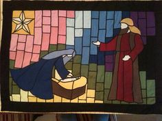 Beautiful quilted Nativity Scene to hang on your by Syncretistic, $150.00