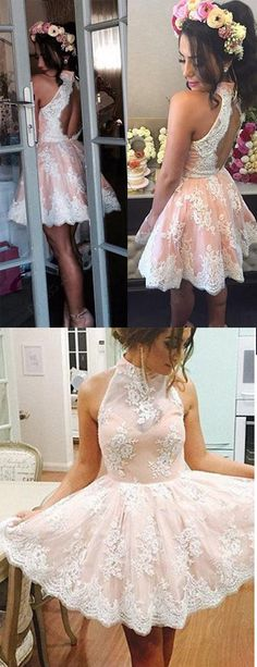 Lace homecoming dresses,white homecoming dresses,high neck back o homecoming dresses,short homecoming dresses,homecoming dress,short prom dresses,pink party dresses,cute dresses,cheap prom gowns,graduation dresses