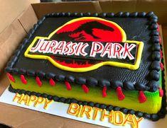 Jurassic Park cake Birthday Party At Park, Dinosaur Birthday Party, Summer Birthday, Third Birthday, Jurassic World Cake, Jurassic Park Party, Park Party Decorations, Party Cakes, Birthdays
