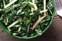 Kale-Apple Coleslaw with Poppy Seed Dressing....  Try substituting molasses for the honey in the dressing recipe. Molasses and kale are a match made in heaven!