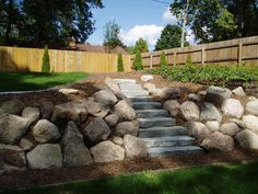 Coming across rock landscaping ideas backyard can be a bit hard but designing a rock garden is one of the most fun and creative forms of Landscaping A Slope, Landscaping Retaining Walls, Landscaping With Rocks, Flagstone Patio, Landscaping Ideas, Rock Wall Landscape, Landscape Design, Garden Design, Landscape Fabric