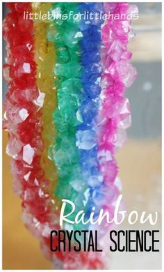 Crystal rainbow science activity for kids. Grow crystals overnight with easy crystal growing recipe. Spring science and STEM activity for preschool, kindergarten, and grade school kids. St. Patricks Day science activity too.