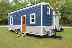 The Indigo Tiny House from Driftwood Homes USA. A 284-square-foot tiny house on wheels with two bedrooms.