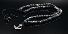 Men's Anchor Necklace Beaded Necklace Lava Stone Necklace
