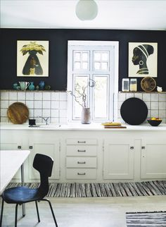 Danish old school kitchen with drawings on the wall by illustrator Aage Sikker Hansen note sort væg /billeder Home Interior, Kitchen Interior, Kitchen Decor, Kitchen Design, Interior Decorating, Interior Design, Kitchen Shelves, Kitchen Art, Diy Decorating