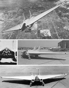 An experimental jet fighter, the Northrop XP-79B. With a wingspan of only 4.3 meters, it was equipped with four 12.7mm guns and powered by two turbojet engines, giving it a top speed of 550 mph. The single prototype was destroyed in a crash in 1945.
