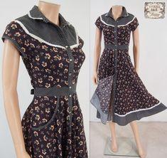 Vtg 70s GUNNE SAX Brown Floral Calico Button Down Prairie Hippie Midi Dress XS  | eBay