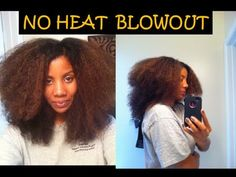 NO HEAT Blowout on Natural Hair (Alodia80 stretches her hair by wrapping it)