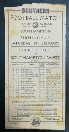 FA Cup 4th round, January 1927 rail poster