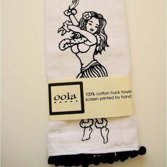 Hula girl kitchen towel