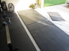 Rubber flooring DIY - Tractor Supply Co. stall mats make fantastic gym floor surfaces..... Getting this, this week for the home gym.... Can't wait for my bowflex max t5