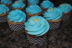 Aqua, yellow & grey chevron stripe Baby Shower Cupcakes - ORDER CUSTOM CUPCAKES in Kenosha, WI & Northern IL... Birthday - Shower - Baby - Wedding - graduation - party - all occasions - holidays - https://www.facebook.com/StefsEvents