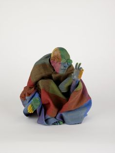 Francis Upritchard, Richard, 2008, Modelling material, foil, wire, paint, cloth, 26.5 x 19 x 14 cm