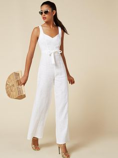 Recent studies have show that our new jumpsuits could save you approximately minutes in the morning. This is a straight legged jumpsuit with a sweetheart neckline, detached belt and a center back zipper. Girl Fashion, Fashion Outfits, White Fashion, Shower Outfits, Latest Fashion For Women, Womens Fashion, Jumpsuit Pattern, White Jumpsuit, Western Dresses