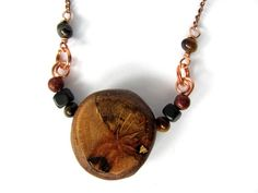 Wooden Jewelry Necklace Copper Wire Wrapped Stone by Hendywood, $30.00