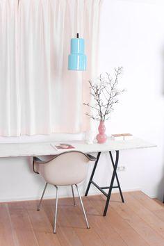 Vintage mintgreen lamp, eames chair, pink vase