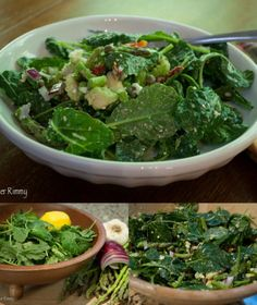 Mediterranean Asparagus Salad with Kale, Sun Dried Tomato, Avocado and Feta Cheese
