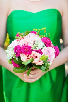 Bright green and hot pink: http://www.stylemepretty.com/california-weddings/atherton/2015/03/30/equestrian-country-club-wedding-in-atherton/ | Photography: Janae Shields - http://janaeshields.com/