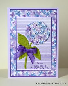 Hydrangea Haven Greetings Card - JanB Cards Large Flowers, Small Flowers, Hydrangea Flower, Hydrangeas, Creative Cards, Stampin Up Cards, Making Ideas, Peonies, Cardmaking