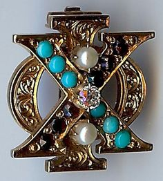 RARE ANTIQUE 14K GOLD GARNETS TURQUOISE & PEARL CHI PHI FRATERNITY BADGE PIN