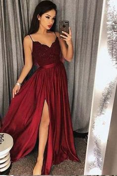 Sexy Prom Dress with Slit, Prom Dresses, Evening Gown, Graduation Scho – DressesTailor Spaghetti Straps Long Simple Prom Dress with Split Party Dress