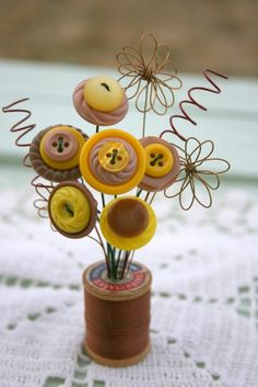 Vintage Button Spool BouquetYellow and Tan by MyFancifulNotions, $8.00