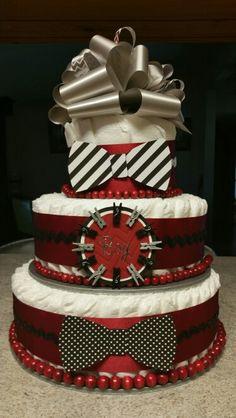 Bow tie diaper cake boy baby shower