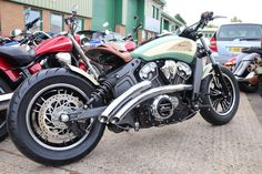 Custom Indian Scout Bobber motorcycle built by moore Speed Racing Poole Dorset UK Bobber Motorcycle, Bike, Indian Scout Sixty, Cafe Racing, Indian Motorcycles, Building, Bobber Chopper, Cool Bikes, Cars