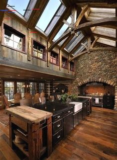 Renew your Ordinary Kitchen with These Inspiring Rustic Country Kitchen Ideas – Küche Ideen Rustic Country Kitchens, Rustic Kitchen Design, Modern Farmhouse Kitchens, Rustic Design, Rustic Farmhouse, Industrial Design, Beautiful Kitchen Designs, Beautiful Kitchens, Cool Kitchens