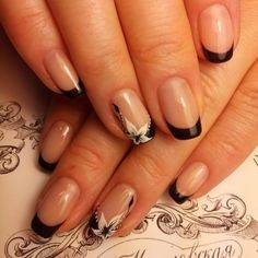Accurate nails, Black french manicure, Elegant nails, Fashion nails 2016, French manicure 2016, French manicure ideas 2016, french manicure news 2016, ring finger nails
