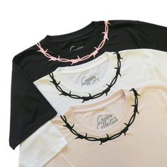 Barbed Wire Embroidered Short Sleeve T-shirt pink with black embroidery Diy Clothing, Sewing Clothes, Custom Clothes, Embroidered Shorts, Embroidered Clothes, Aesthetic Shirts, Aesthetic Clothes, Embroidery On Clothes, T Shirt Embroidery