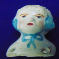 BISQUE CHINA DOLL HEAD DOLLMAKER EARMUFF OLD OR NEW ? ALTERED ART SPOOKY #Unbranded #retrovintagemodernhometheme
