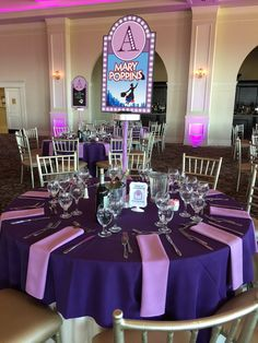 Broadway Show Centerpieces.  Each table was a different show