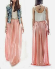 Sleeveless long flowy maxi pink fashion trend