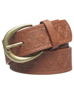 "This boho-basic jean belt is made in all-over faux leather with a gorgeous southwestern etched pattern throughout and a rounded western-style metal buckle. Belt is adjustable and includes a belt keeper.      	Belt: 1.5"" width  	Man Made Materials / Metal  	Imported"